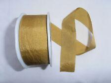 2M pezzo Plain Oro Finta Seta REVERSIBILE A Nastro da Sposa Taglia Craft Dressmaking