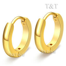 T&T 14K Gold GP S. Steel Rounded Hoop Earrings Extra Large 20mm EH02J(4x16)