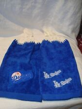 LA Dodgers Set of 2 Crochet Handmade Kitchen Hand Fridge Golf Bar Towels NEW