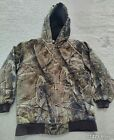 Carhartt Real Tree Camo Quilted Hunting Jacket Coat Hood Youth Kids Size L 14-16