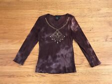 Suzie in the City brown tie dye jeweled longsleeve top pullover blouse sz S
