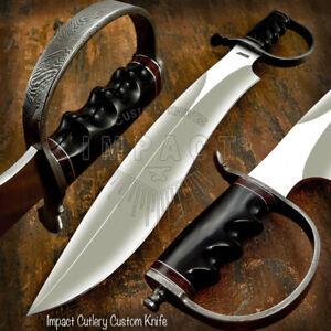 IMPACT CUTLERY RARE CUSTOM D2 MOSNTOR SASQUATCH BOWIE KNIFE BULL HORN DAMASCUS
