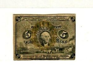 "5 CENT ""FRACTIONAL"" (GREENBACK) 1800'S ""HARRISON"" 5 CENT ""FRACTIONAL""  CRISPY!!!"