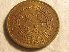 Rare 1981 Modesto CA Chuck E Cheese PizzaTime City TOKEN COIN