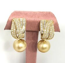 Half Hoop Diamond Earrings with Drop South Sea Golden Pearl in 18k YG--HM1928