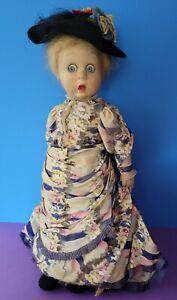 "Estate find 20"" Antique Googly-eyed Lenci doll in lovely ensemble"