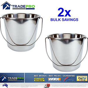 2x Stainless Steel Bucket with Handle 20Ltr HDuty Premium Quality NewModel 20L