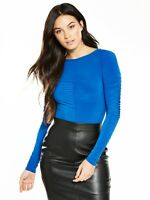V by Very RRP £27 Royal Blue Ruched Bodysuit