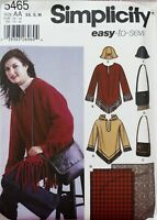 Misses XS,X,M Poncho Style Top Bag Hat Blanket Simplicity 5465 Sewing Pattern