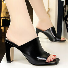 Women Slippers Block Heeled Slingback Open Toe Slip On Slide Sandals US 6 Black