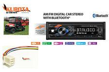 Kubota Tractor Radio MP3 AM FM USB Aux Bluetooth Remote RTV RTX Harness Plug