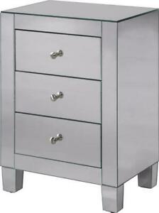 SIDE CABINET CONTEMPORARY BRUSHED STEEL CLEAR SOLID WOOD MIRROR MIRRORS 3