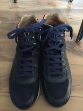 Salvatore Ferragamo High Top Men's Blue Sneakers Shoes Size 9.5 suede and leathe