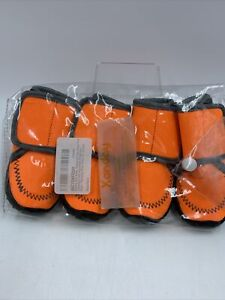 Dog Paw Boots Shoes Small Orange High Visibility Waterproof Adjustable NEW