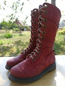 Dr Martens Triumph Boots 12107 Women 5 UK 7 US Red Leather Flowers Lining 1914