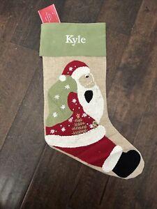 NWT Pottery Barn Crewel Santa & Bag Beige Linen Christmas Stocking Mono Kyle