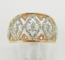 Rose and White Gold Diamond Cocktail Ring Anniversary Cigar Band Style Size 7
