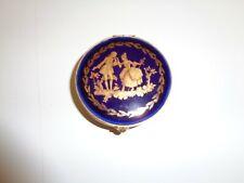 Vintage Limoges Gold Cobalt Blue Hinged Round Trinket Box