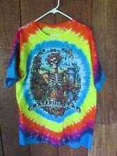 Grateful Dead Liquid Blue Tie Dye T-Shirt L Bright Loud Colors Roses Skeleton