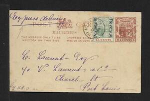 MAURITIUS UPRATED LOCAL CARD COVER 1890