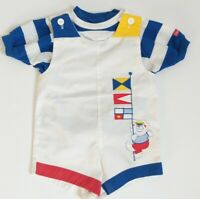 Vintage Oshkosh Boys 18 mo Shirt Top Romper Suit Set USA Bear Nautical Applique