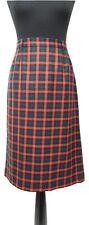 VIYELLA Skirt Size 14 Red & Green Tartan  L28in Designer Pure New Wool Summer