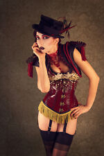 'Engineers of Desire' steampunk circus red gold steel leather corset XS S 24 25
