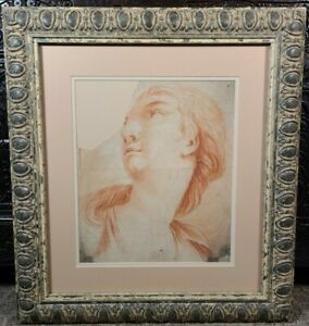 Antique Old Master Study Conte Drawing Head Woman French Italian 18th C 1700