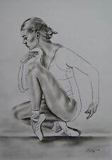 Ballerina ballett Zeichnung   Original    dancing Drawing artist   A3