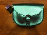 New Claire's Cute Metallic Blue Cross Body Bag Purse With Tassel Accent New!