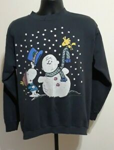 RARE True VINTAGE Peanuts Christmas Sweater Snoopy & Woodstock Charlie Brown XL