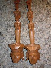 Old Vintage Indonesian Balenese Hand Carved Teak Wood Hanging Planters
