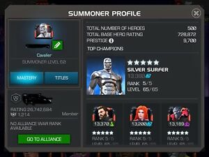 Marvel Contest of Champions MCOC Cavalier Account plus email account