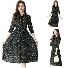 Women Floral Printing Chiffon Dress A-Line Korean Fashion Knee Length Slim Fit D