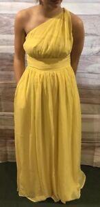 Tevolio Women's Dress Size 4 Yellow One Shoulder Long Formal Brand New LBB76