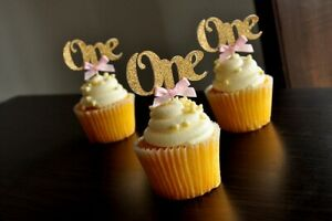 """Baby's 1st Birthday Cupcake Toppers - """"One"""" (Pack of 12) - Pink"""