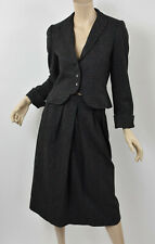 Vintage ILIE WACS Charcoal Checked Wool Cropped Blazer & Midi Skirt Suit S 2/4