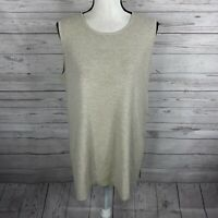Eileen Fisher Womens Wool Tank Top Shell Tunic Size Medium Beige Gray Sleeveless