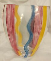 """Flat Glass Vase Painted Vertical Stripes 10"""" Tall x 8"""" Wide x 4"""" Thick"""