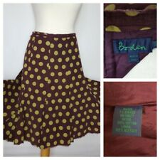 BODEN Cotton Dots Print Cord Fit & Flare Dark Purple Skirt size 10