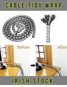 Cable Tidy Wrap Spiral Zip Cord Storage Wire Organize TV Computer Music Desk 2M