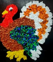 Vintage Melted Plastic Popcorn Turkey Thanksgiving Decoration