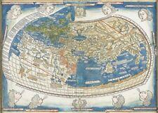 World Map 1482 CANVAS PRINT A3 Antique Vintage Poster