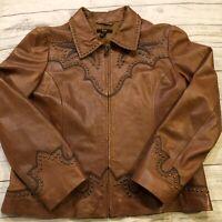 REBA BROWN LEATHER JACKET Crosses-Brass Studs-Blazer Jacket-Sz Large Zip Up