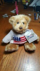 "DAKIN 9"" STUFFED BEAR ""REMEMBER PEARL HARBOR"" W/US FLAG SWEATER"