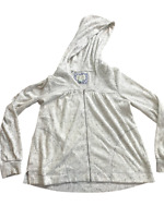 Anthropologie Saturday Sunday Cream Splatter Knit Hooded Jacket Full Zip Size XL