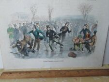 Vintage Print,WINTER PASTIME-Skating,Gleasons,1850s,Colored