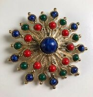 Vintage Sarah Coventry Carnival Red Blue Green Cabochon Large Spray Brooch Pin