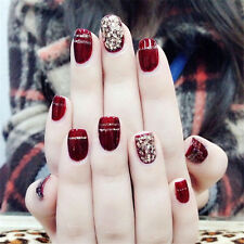 Wine Red Acrylic Nails Short False French Nails Full tips Fake Art Cover Nail