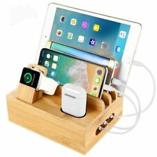 Bamboo Multifunctional iPhone iWatch Holder Stand iPad Desktop Dock Station Pods